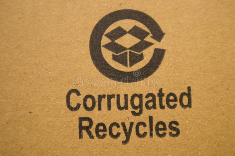 BANGALORE INDIA June 13, 2019 : Corrugated recycles printed on card board.  stock photography