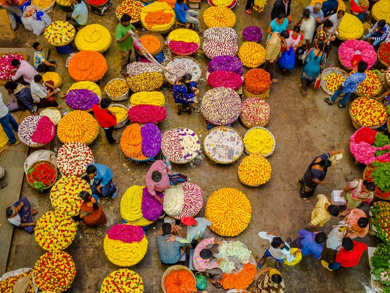 BANGALORE, INDIA - June 06 2017: Flower sellers at KR Market in Bangalore. in Bangalore, India royalty free stock photography
