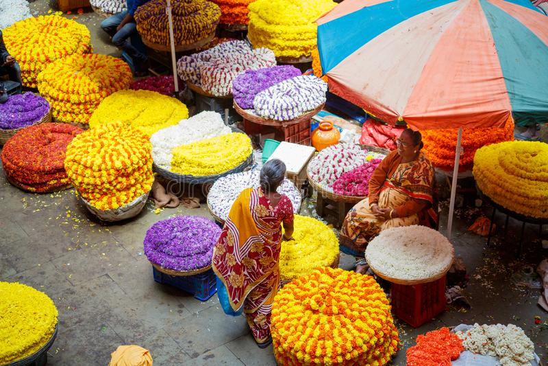 Bangalore, India - June 22, 2018: KR flower market. In Bengaluru royalty free stock photo