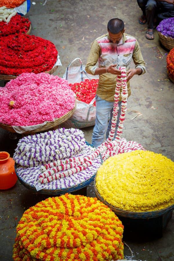 Bangalore, India - June 22, 2018: KR flower market. In Bengaluru stock photography