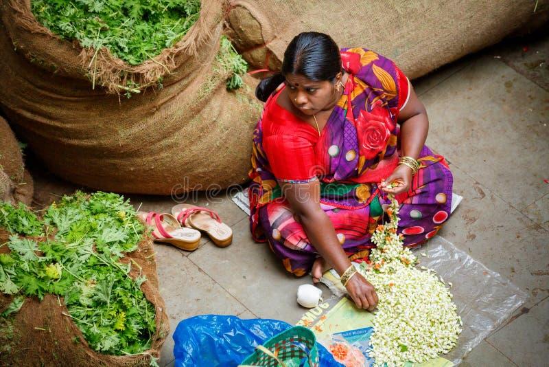 Bangalore, India - June 22, 2018: KR flower market. In Bengaluru stock photos