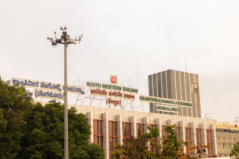 BANGALORE INDIA June 3, 2019 : Krantiveera Sangolli Rayanna or south western railways railway station building at royalty free stock photography