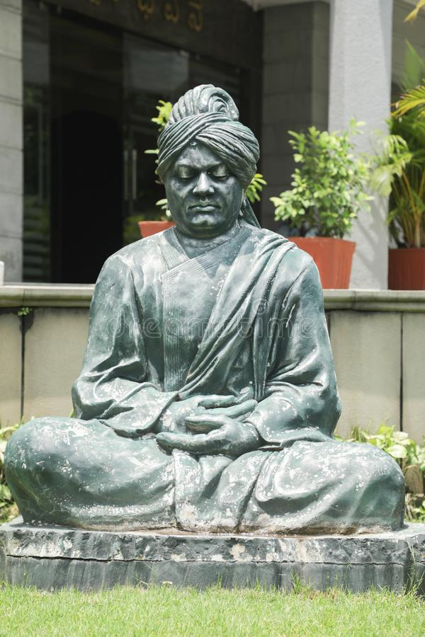 Bangalore, India - June 2, 2019 : Meditating statue or sculpture posture of Swami Vivekananda at Bengaluru royalty free stock photos