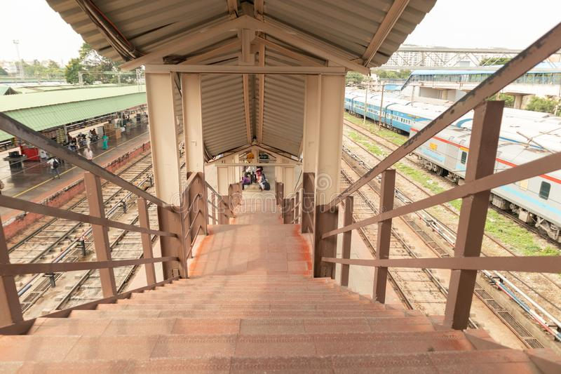 BANGALORE INDIA June 3, 2019 : Old Retro staircase in railway station.  royalty free stock image