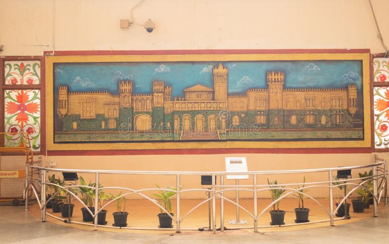 BANGALORE INDIA June 3, 2019 : Painting of bangalore palace at Indian railway station Bengaluru.  stock photos