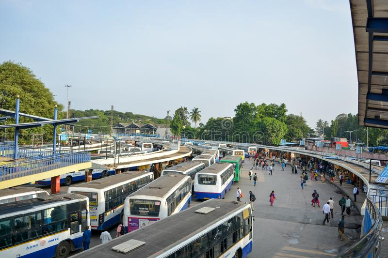 BANGALORE INDIA June 3, 2019: Stack of Buses in the Kempegowda Bus Station known as Majestic during morning. Time stock photo