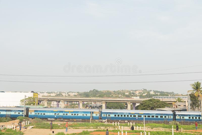 BANGALORE INDIA June 1, 2019 : Train moving in the middle of the city at Bengaluru stock photo