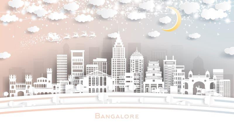 Bangalore India miasta linia horyzontu w papieru cięcia stylu z płatek śniegu, księżyc i Neonową girlandą, royalty ilustracja