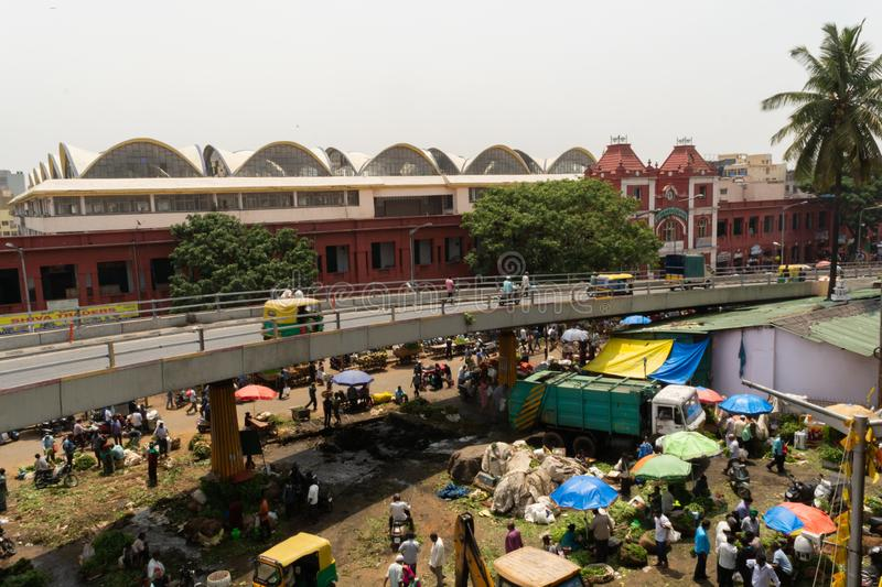 Bangalore, India - 4th June 2019 : Aerial view of Busy people at KR Market also known as City Market, It is the largest wholesale. Market dealing with stock image