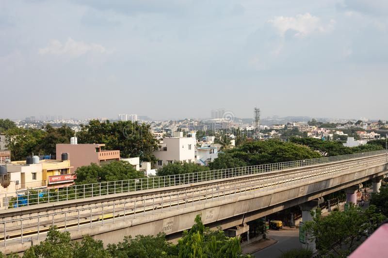 Bangalore, Karnataka India-June 01 2019 : Aerial View Empty Bengaluru metro bridge near Vijaya Nagara, Bengaluru , India.  stock images