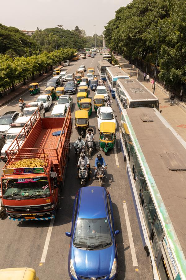 Bangalore, Karnataka India-June 04 2019 : Aerial View of five lane highway road with waiting vehicles near BBMP Bengaluru Office,. Karnataka stock photo