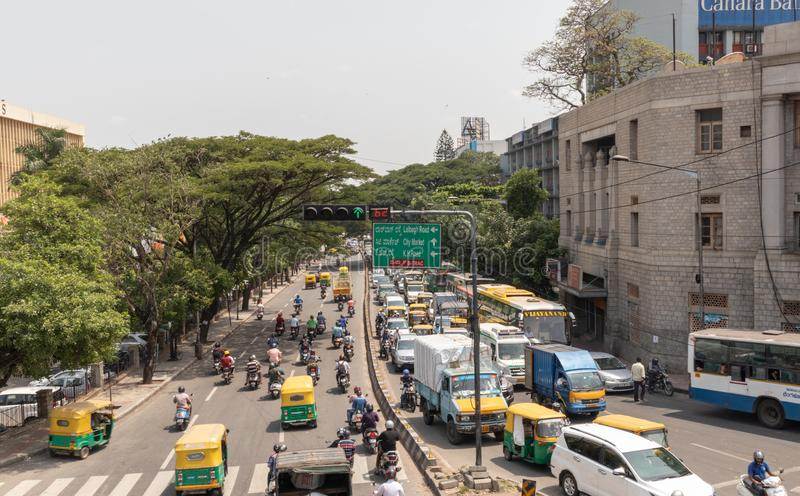 Bangalore, Karnataka India-June 04 2019 : Aerial View of Green traffic light or signal with moving vehicle near Town hall. Bengaluru, India royalty free stock photography