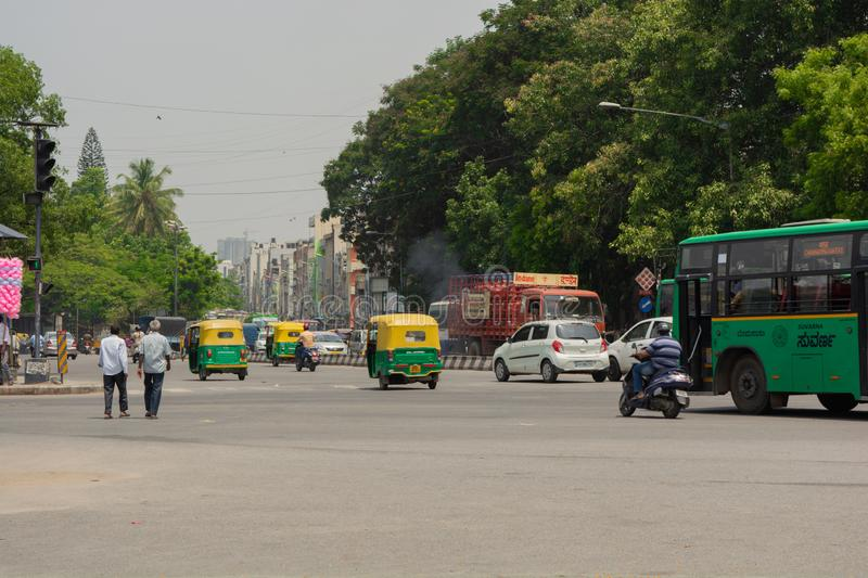 Bangalore, Karnataka India-June 04 2019 : Bengaluru city traffic near town hall, Bengaluru, India.  stock photo