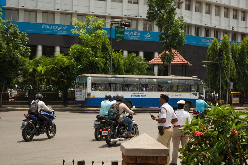 Bangalore, Karnataka India-June 04 2019 : Bengaluru city traffic near town hall, Bengaluru, India.  royalty free stock photos