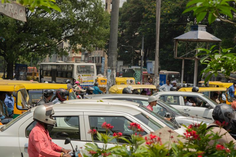 Bangalore, Karnataka India-June 04 2019 : Bengaluru city traffic near town hall, Bengaluru, India.  stock photography