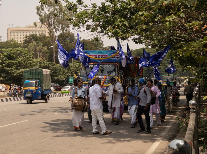 Bangalore, Karnataka India-June 04 2019 : Procession of Samata Sainik Dal Moving near Freedom Park Bengaluru, India.  stock photo
