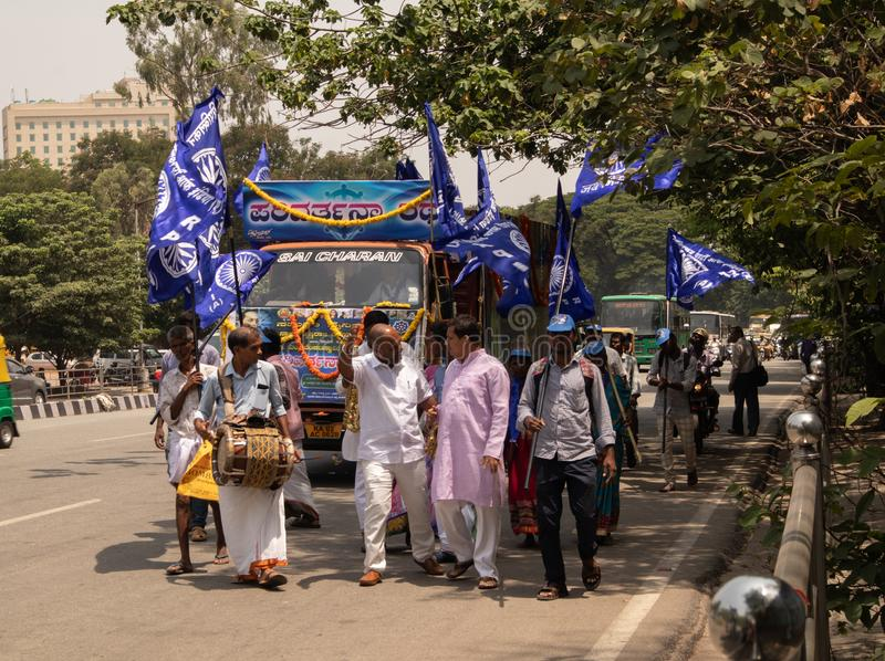 Bangalore, Karnataka India-June 04 2019 : Procession of Samata Sainik Dal Moving near Freedom Park Bengaluru, India.  royalty free stock photography