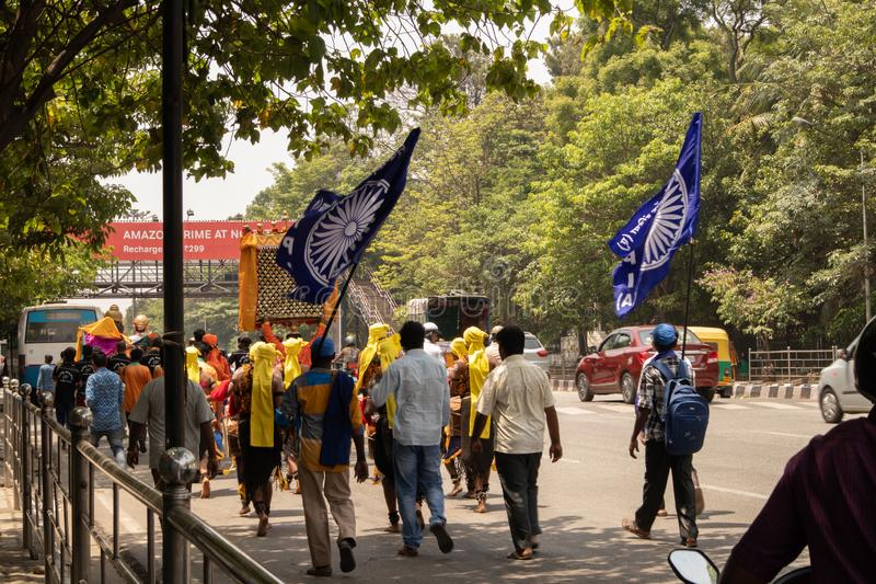 Bangalore, Karnataka India-June 04 2019 : Procession of Samata Sainik Dal Moving near Freedom Park Bengaluru, India.  stock photography