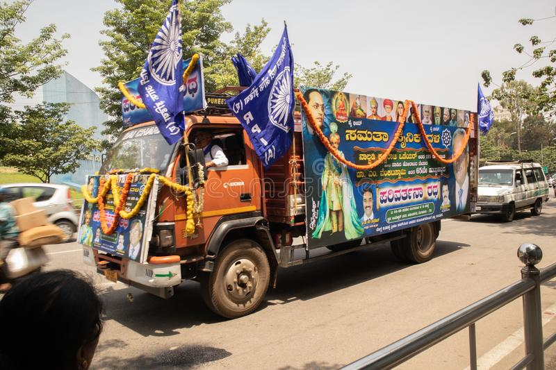 Bangalore, Karnataka India-June 04 2019 : Procession of Samata Sainik Dal Moving near Freedom Park Bengaluru, India.  stock images