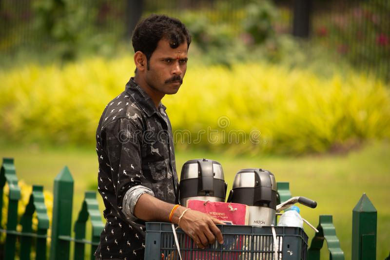 Bangalore, Karnataka India-June 04 2019 : Street Vendor selling Tea on Cycle at Bengaluru.  royalty free stock image
