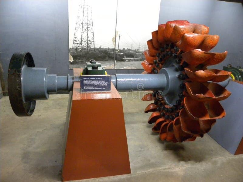 Bangalore, Karnataka, India - September 5, de turbineagent van Pelton van 2009, impulstype hydraulische turbine stock foto