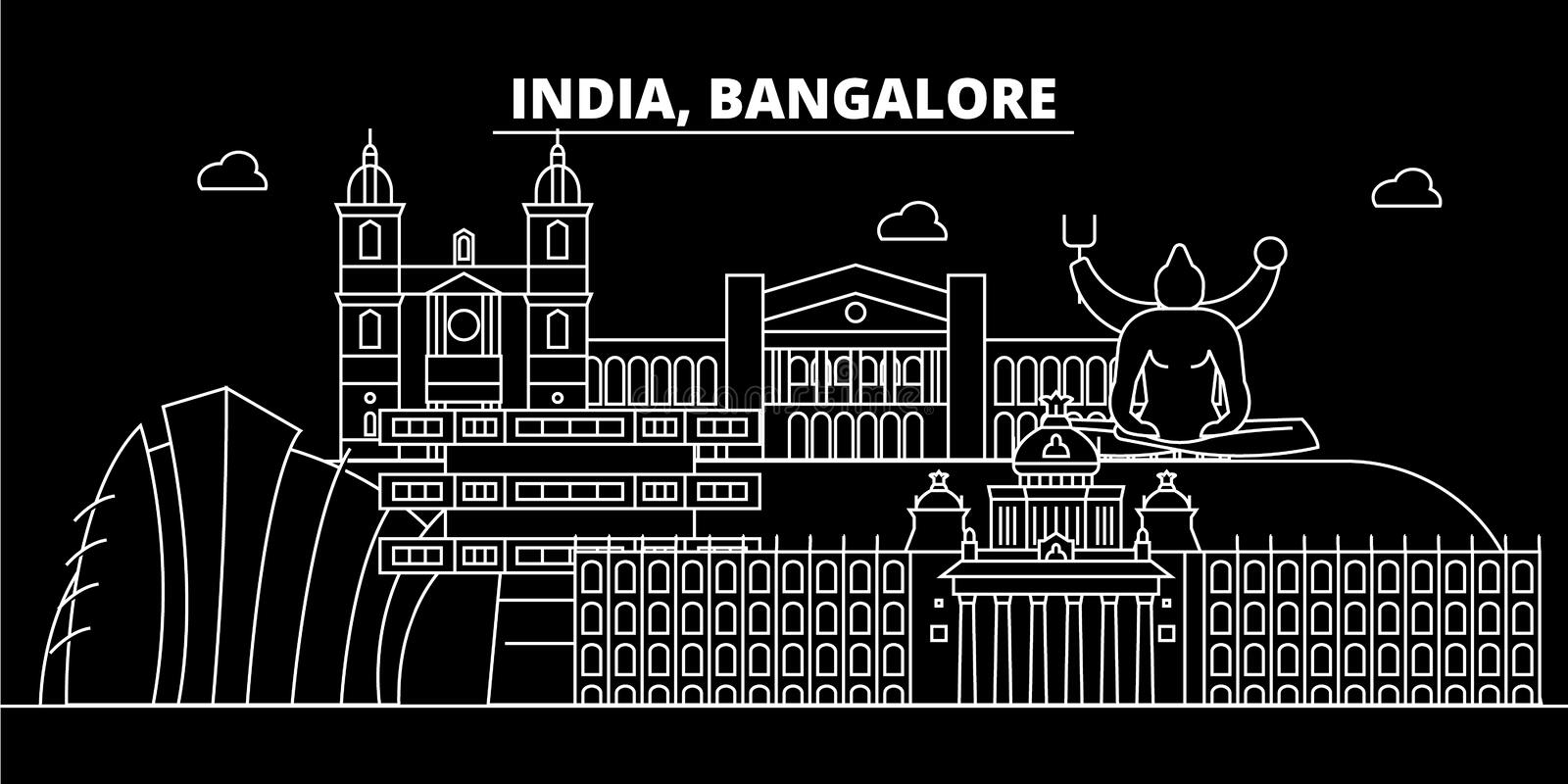 Bangalore silhouette skyline. India - Bangalore vector city, indian linear architecture, buildings. Bangalore travel. Bangalore silhouette skyline. India stock illustration