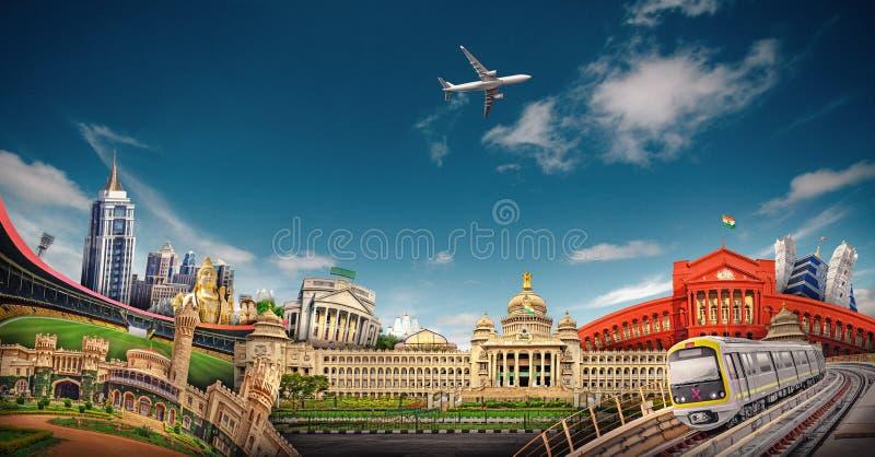 Bangalore Skyline City. Bangalore is the capital and largest city of the Indian state of Karnataka stock image