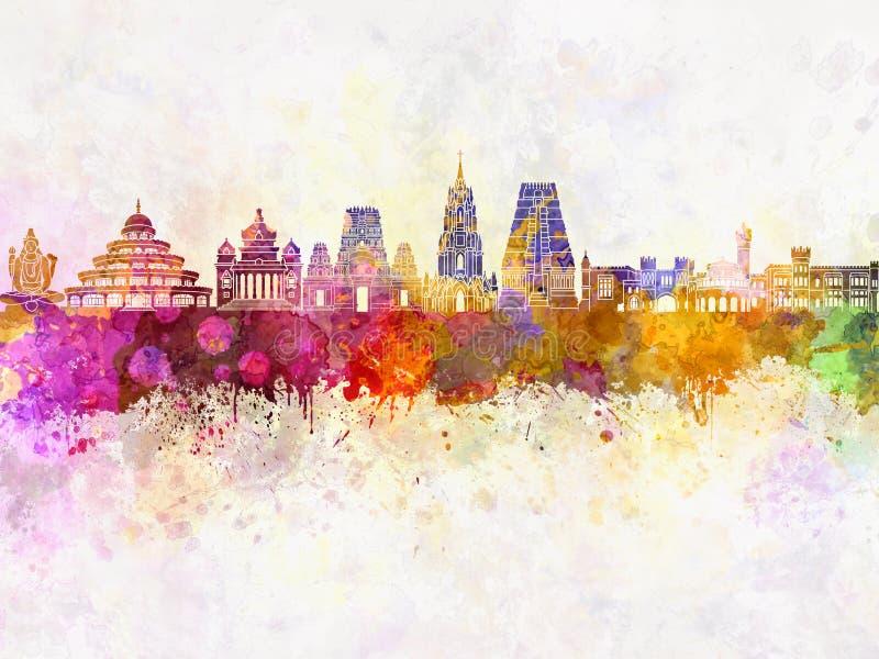 Bangalore-Skyline im Aquarell lizenzfreie abbildung