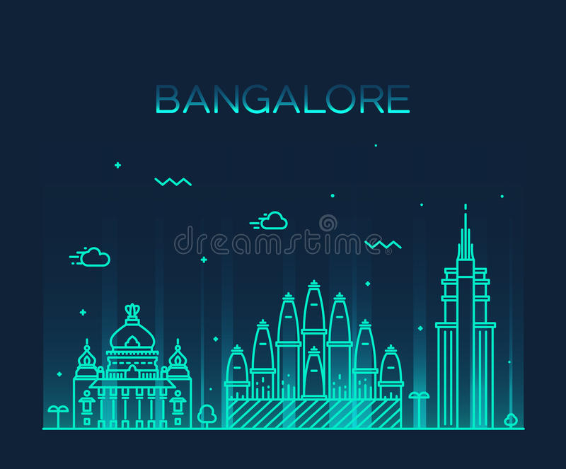 Bangalore skyline vector illustration linear. Bangalore skyline detailed silhouette Trendy vector illustration linear style royalty free illustration