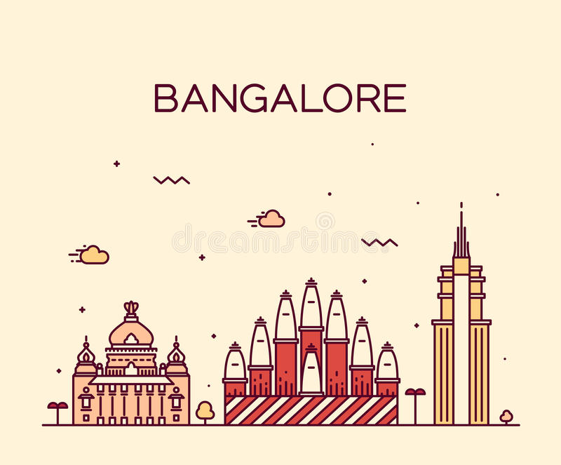 Bangalore skyline vector illustration linear. Bangalore skyline detailed silhouette Trendy vector illustration linear style stock illustration