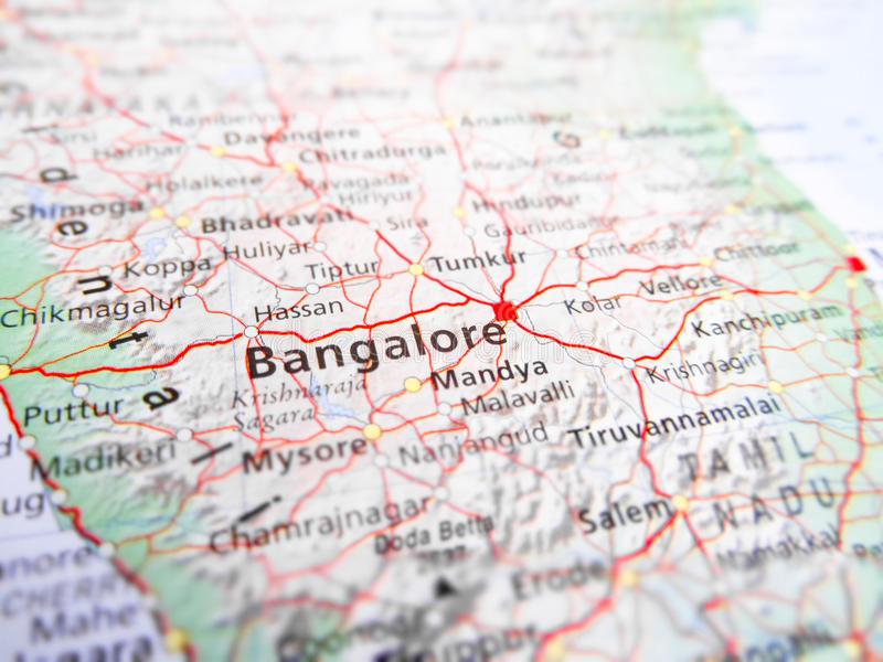 Bangalore stad över en färdplan Indien arkivfoton
