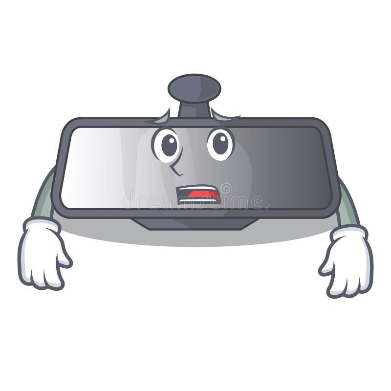 Bange achteruitkijkspiegel in beeldverhaalauto stock illustratie