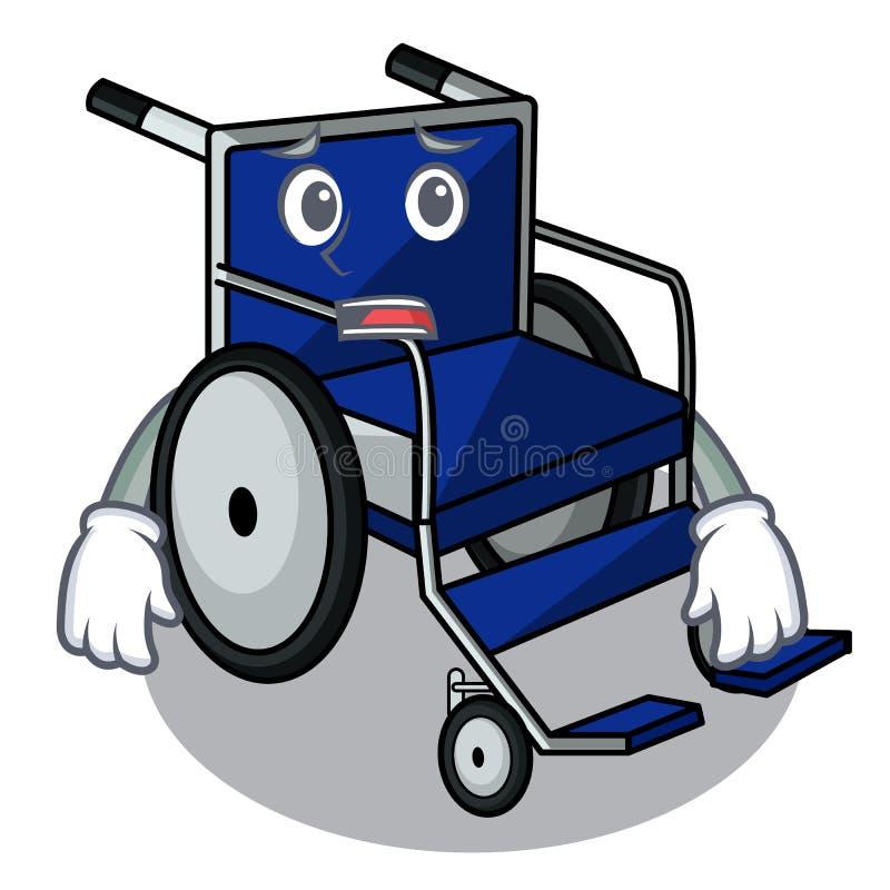 Bange beeldverhaalrolstoel in een het ziekenhuisruimte vector illustratie