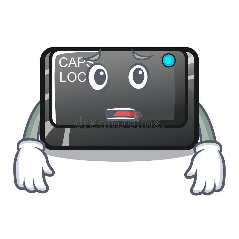 Bange capslockknoop in bijlage aan mascottetoetsenbord vector illustratie