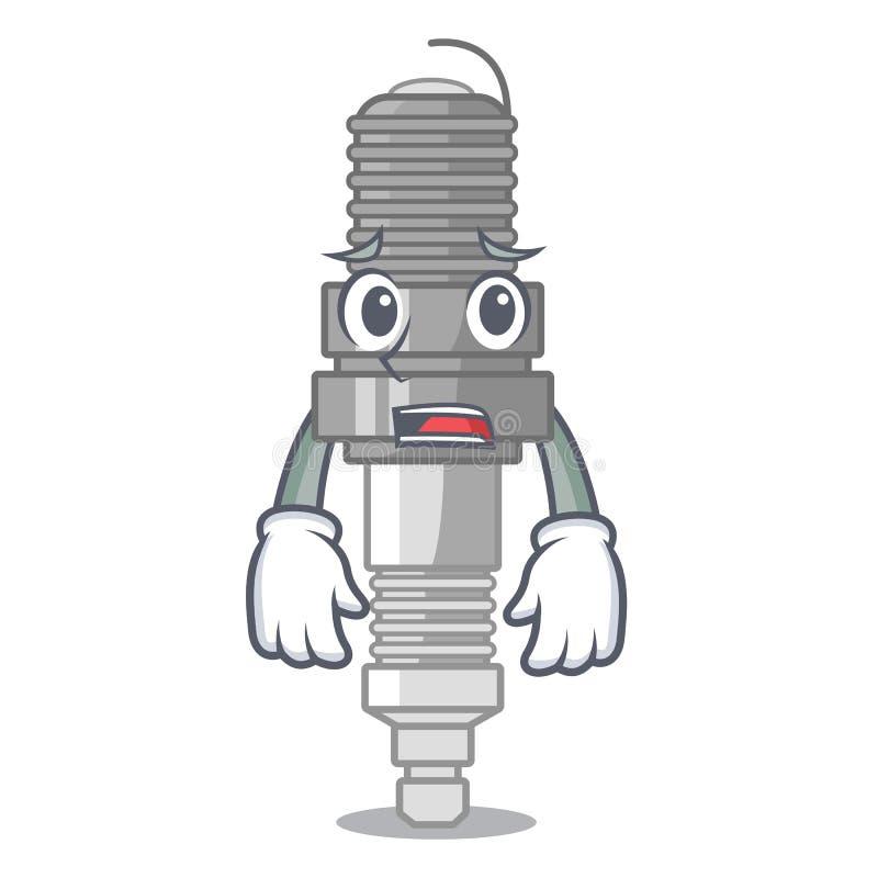 Bange die bougie met de mascotte wordt geïsoleerd stock illustratie