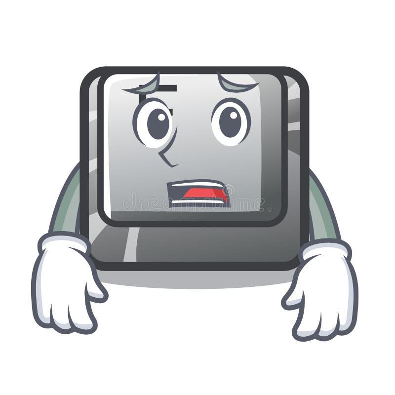 Bange die knoop F op beeldverhaalcomputer wordt geïnstalleerd stock illustratie