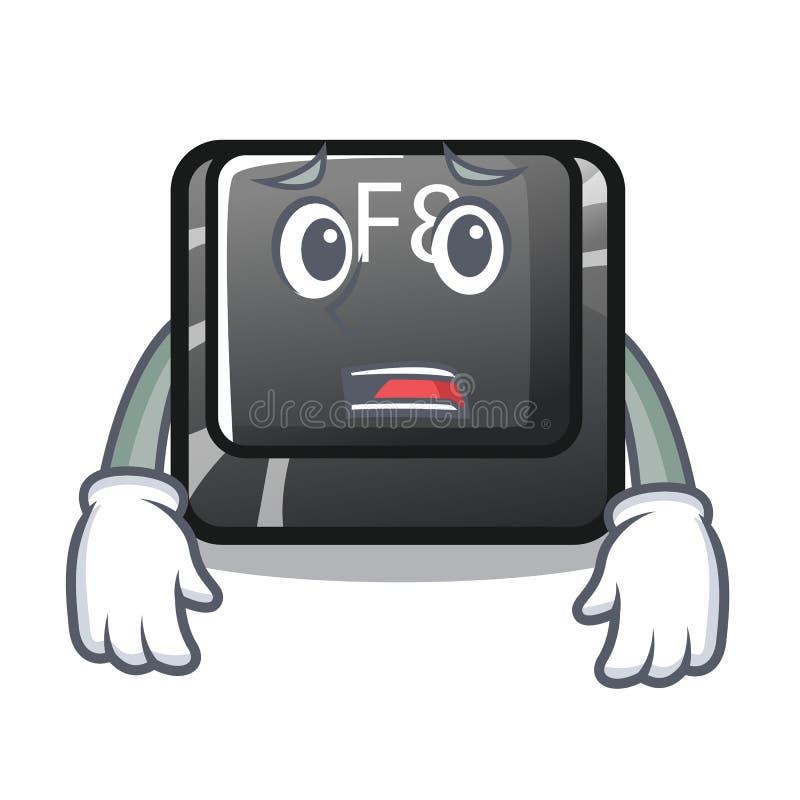 Bange f8-knoop die op computermascotte wordt geïnstalleerd royalty-vrije illustratie