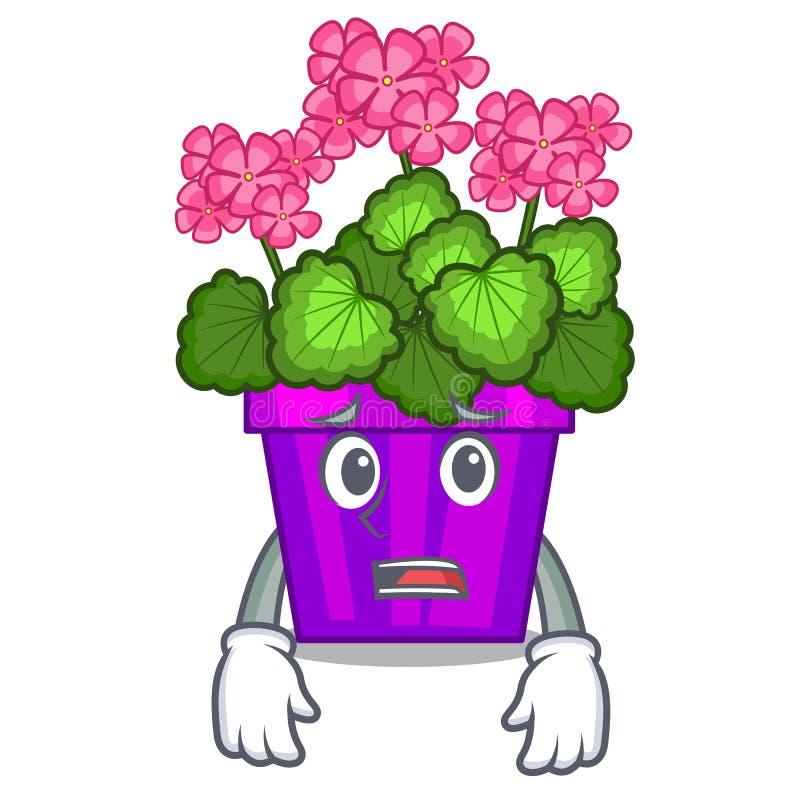 Bange geraniumbloemen in de beeldverhaalpot vector illustratie