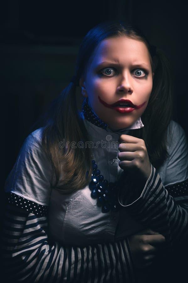Bange het meisje van de clowntiener stock afbeeldingen