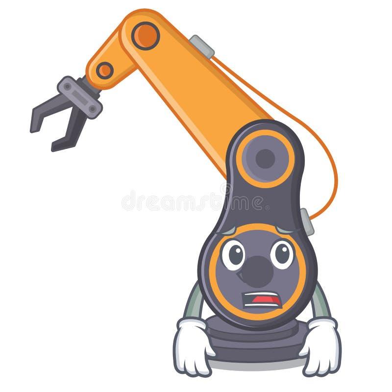 Bange industriële robotachtige hand die met beeldverhaal wordt geïsoleerd stock illustratie