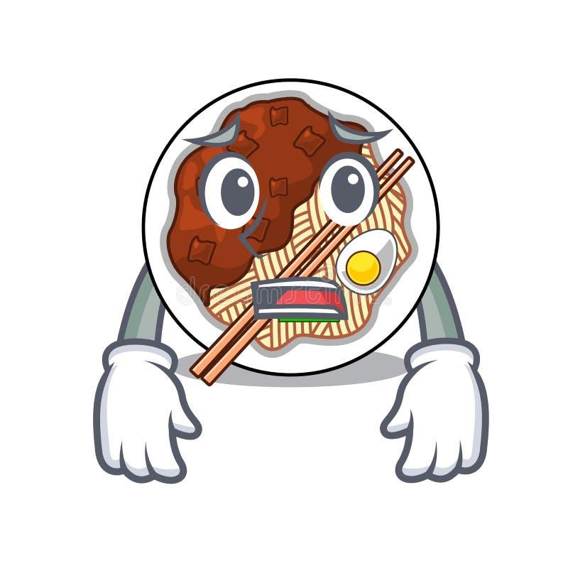Bange jajangmyeon wordt geplaatst in mascottekom vector illustratie