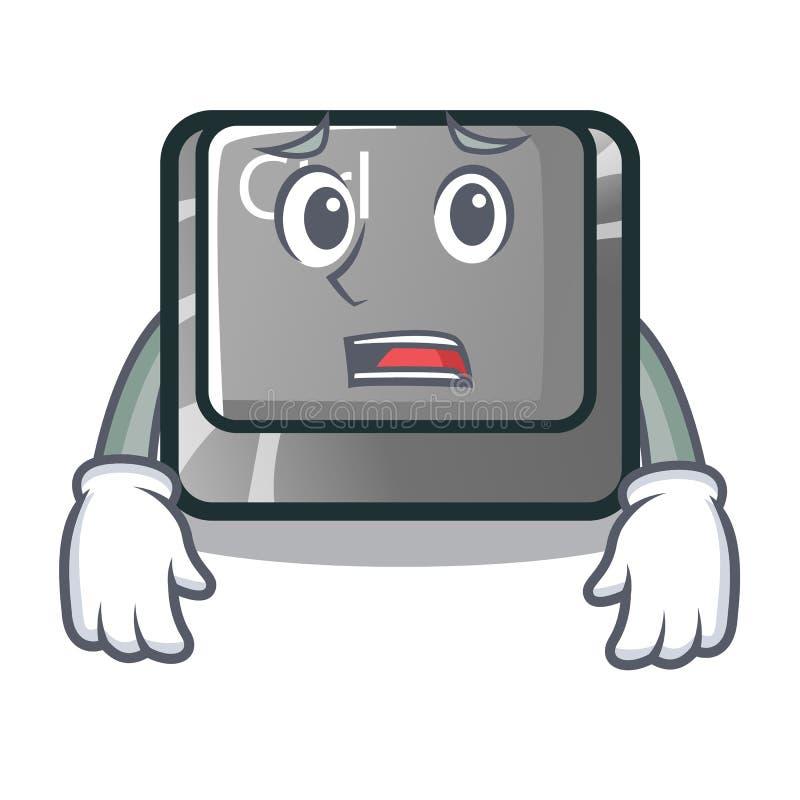 Bange karakterctrl knoop in bijlage op computer royalty-vrije illustratie