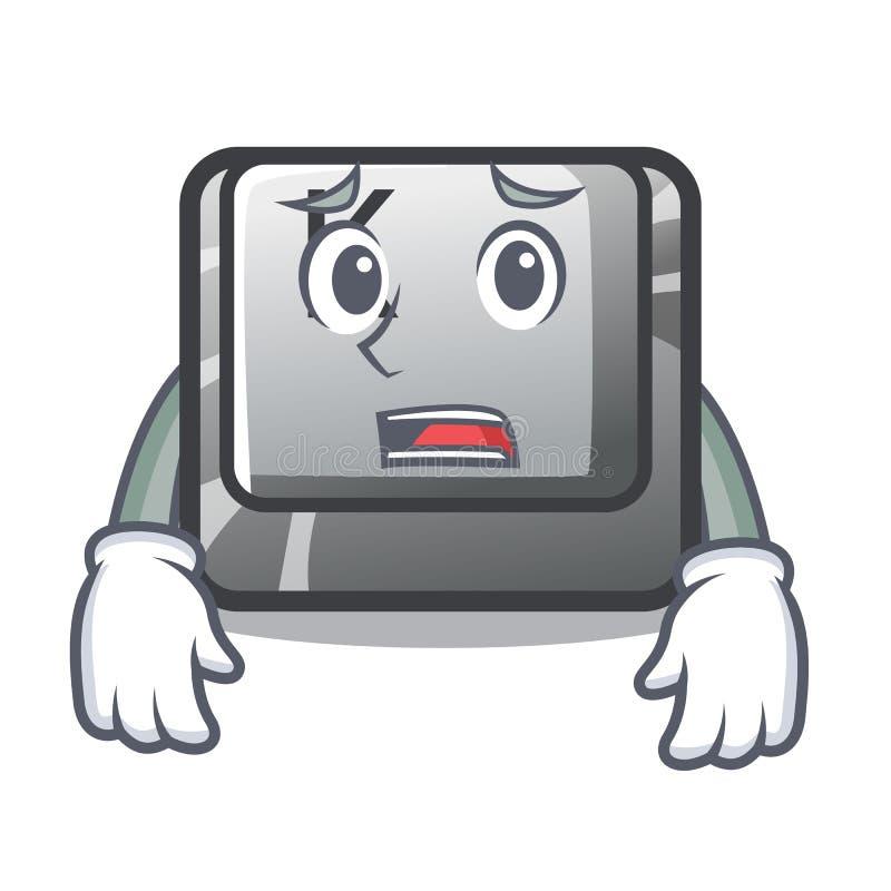Bange knoop K op een karaktercomputer stock illustratie