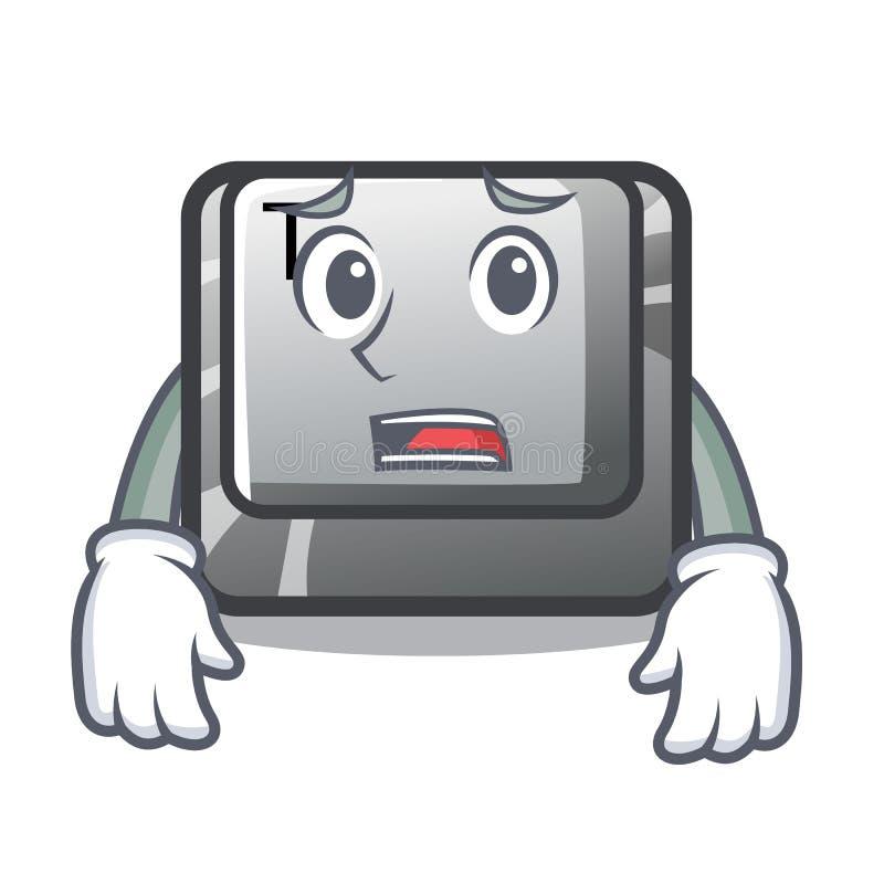 Bange knoop T in het toetsenbordbeeldverhaal vector illustratie