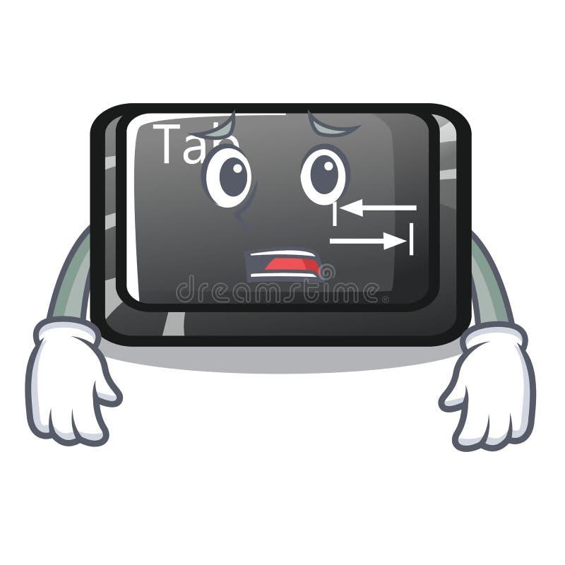 Bange lusjeknoop in bijlage aan beeldverhaaltoetsenbord stock illustratie