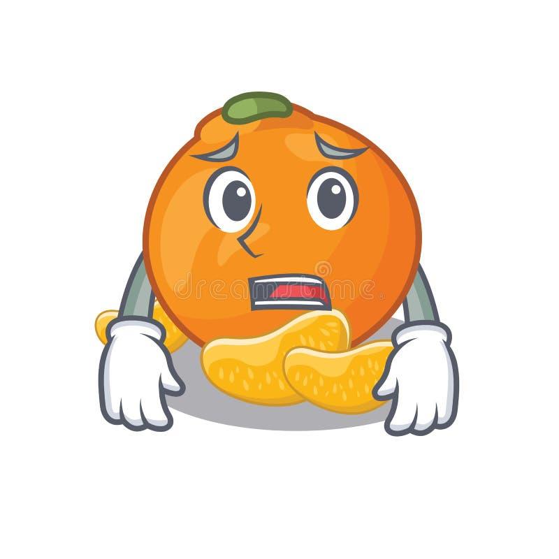 Bange mandarijn met in de mascottevorm vector illustratie