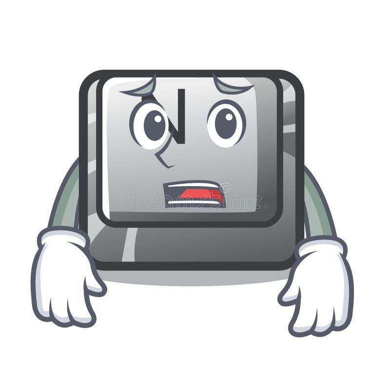 Bange n-knoop in bijlage aan mascottetoetsenbord royalty-vrije illustratie