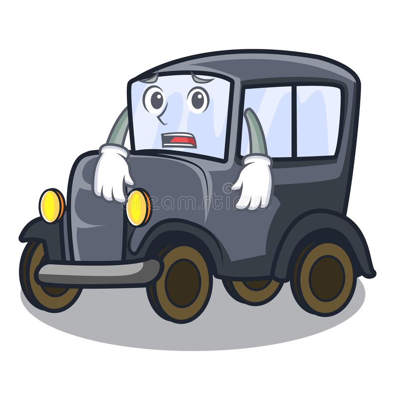 Bange oude beeldverhaalauto in zijgarage stock illustratie