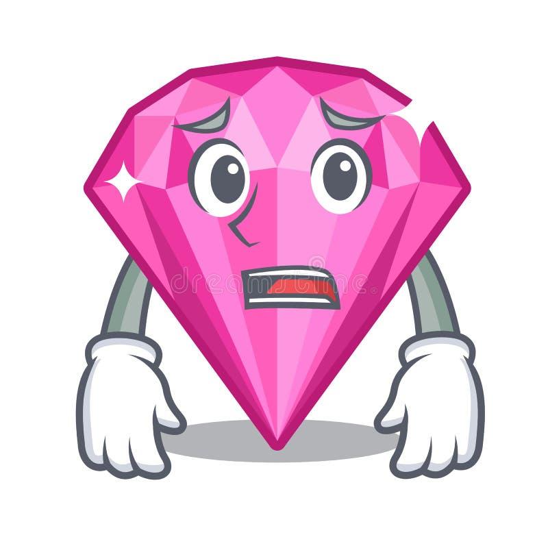 Bange roze diamant in de mascottevorm vector illustratie