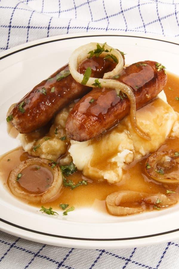 Banger en brij, zeer Ierse maaltijd stock afbeeldingen